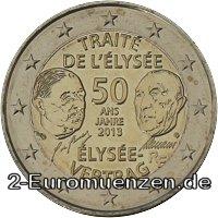 2 Euro Frankreich 2013 50 Jahre élysée Vertrag